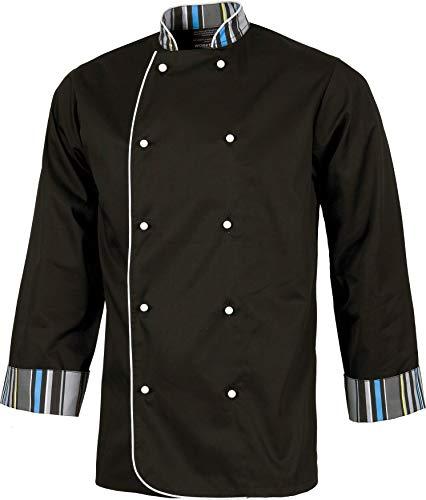 Work Team Casaca Cocinero con Botones de Seguridad, puños Combinado Estampado Rayas. Hombre Negro L