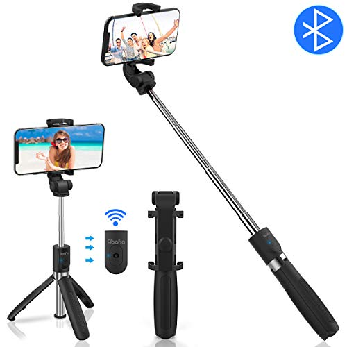 "Abafia Bluetooth Selfie Stick, 3 in 1 Extendable Selfie Stick Tripod Multifunctional Monopod Clamp Phone Holder with Wireless Remote for iPhone/Samsung Galaxy/Huawei/Xiaomi (3.5""- 6.0"")"
