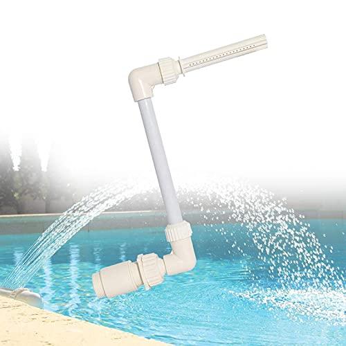 Fuente de piscina cascada, equipo de soporte de fuente de cascada se adapta a chorros de retorno de 1.5 pulgadas en tierra y sobre el suelo