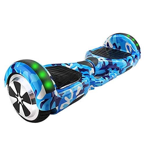 "Hoverboard Skate Elétrico 6.5"" Led Bluetooth Motor Brushless+Bolsa (CamufladoAzul, 6,5polegadas)"
