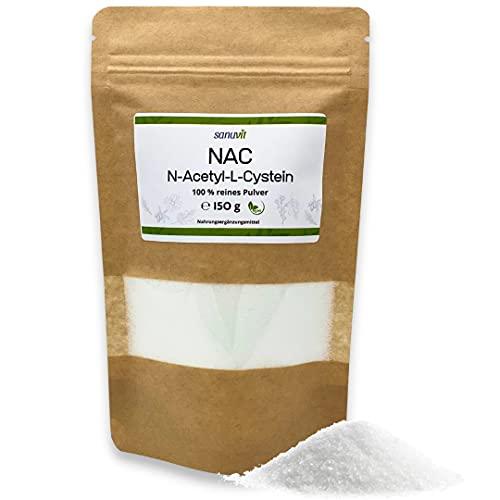 Sanuvit® - NAC Pulver   150g pro Beutel   6 Monatsvorrat   N-Acetyl-L-Cystein   Hohe Bioverfügbarkeit und Verträglichkeit   Vegan   Hergestellt in Österreich