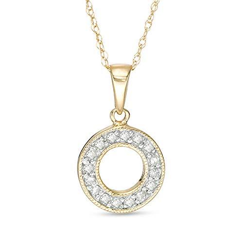 1/8 CT. T.W. Colgante de círculo abierto de diamante de imitación de corte redondo para ella en oro amarillo de 10 quilates chapado en oro amarillo 925