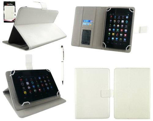 Emartbuy® Denver TAQ-70202 7 Zoll Tablet Universalbereich Weiß Multi Winkel Folio Exekutive Case Cover Wallet Hülle Schutzhülle mit Kartensteckplätze + Weiß 2 in 1 Eingabestift