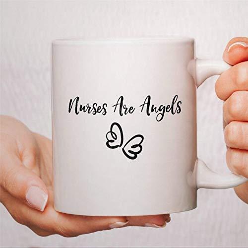 Taza de café, tazas de lactancia, tazas de enfermera, regalos de enfermera, enfermeras son ángeles, divertida taza de café de cerámica, regalo para amigos, familiares, amantes y colegas, 450 ml