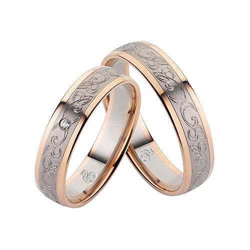 CORE by Schumann Design Trauringe Eheringe aus 333 Gold (8 Karat) Rotgold/500 Palladium Bicolor mit echten Diamanten GRATIS Testringservice & Gravur 19024263