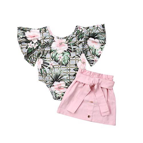 Longfei Lot de 2 Ensembles de vêtements pour bébé Fille...