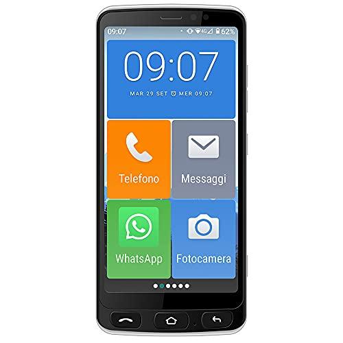 Majestic JACK 4G - Senior Smartphone 4G con display touch 5.5  icone grandi, tasto SOS, fotocamera, bluetooth