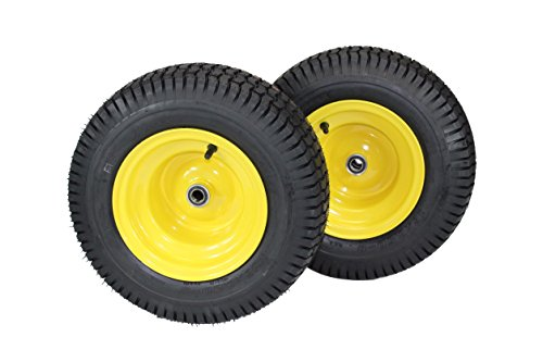 "(Set of 2) 16x6.50-8 Tires & Wheels 4 Ply for Lawn & Garden Mower Turf Tires .75"" Bearing"
