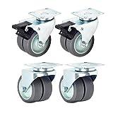 Ruote girevoli in gomma da 3 pollici con ruote girevoli di ricambio resistenti a 360 gradi per mobili, carrelli, carrelli e carrelli della spesa, set di 4 (2 attivi + 2 freni)