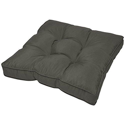 Beautissu Cojín para Muebles de jardín o Mimbre Flair Outdoor - Acolchado Lounge de sillas de Exterior Resistente al Agua - 70x70x10 cm - Gris Grafito