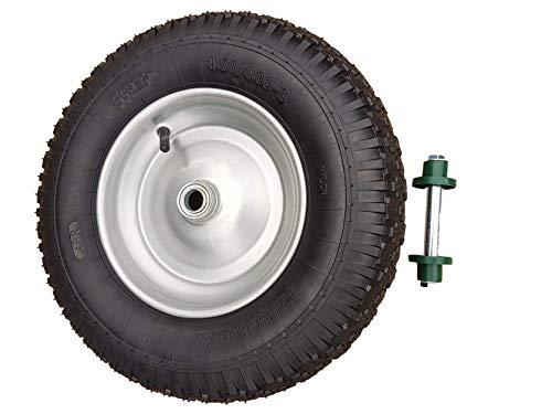 Frosal Schubkarrenrad 400 (380) mm mit Schlauch inkl. Achse | Rad Luftrad Schubkarre | Ersatzrad 4.80/4.00-8 Stahlfelge silber | Reifen 100 mm Breite