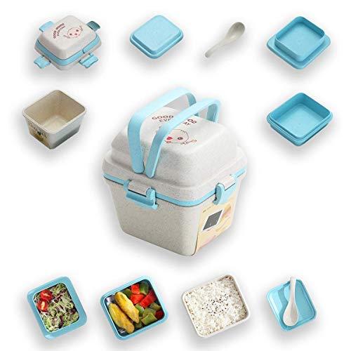 Kyraton Bento Boxen für Kinder, 3 lagige Brotdose, Bento Lunch boxen für Kinder, mikrowellen- / gefrier- / spülmaschinenfest (Hell blau)