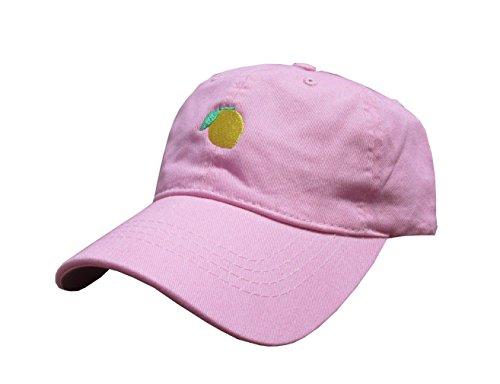 Lemon Emoji Pink Unstructured Unixex Twill Cotton Low Profile Dad Hat Cap