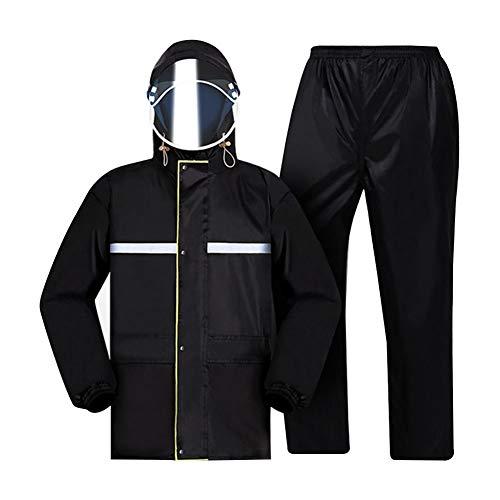 Regenjas Regenbroek Suit - Oversized Pocket Design - Super Reflecterende Strip - 100% Waterdicht Ontwerp - Dubbele Cap - Split Heren en Regenjas Regenbroek