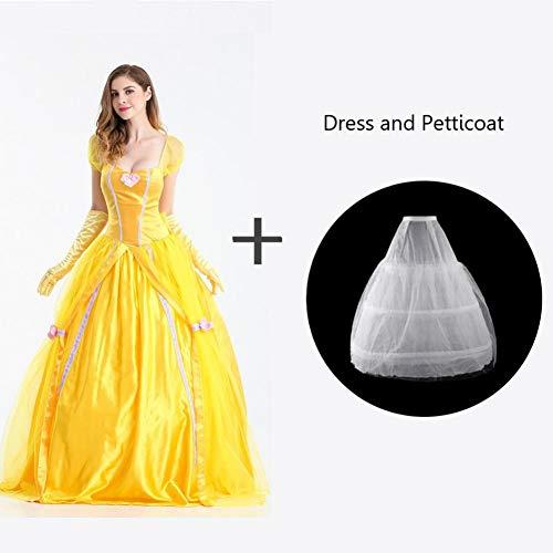 GBYAY Schönheit Kostüme Frauen Erwachsene Halloween Belle Kleider Party Phantasie Gelb Prinzessin Kleid Weibliche Cosplay