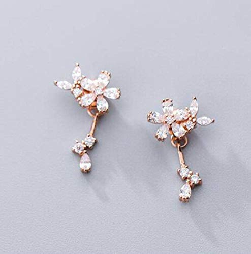 WOZUIMEI S925 Pendientes de Plata Estilo de Arte Coreano Femenino Pendientes de Flores de Diamantes Llenos Flores Lindasoro rosa