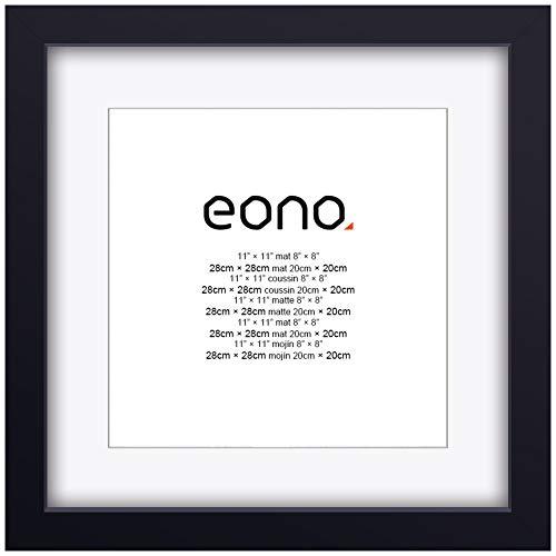 Eono by Amazon - Marco de Fotos de Madera Maciza y Cristal de Alta Definición para Pared Fotos de 20x20 cm con paspartú y de 28x28 cm sin paspartú Negro