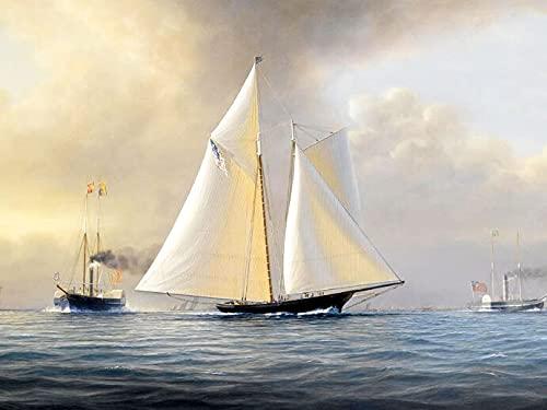 Kit de pintura de diamante de punto de cruz de barco bordado de diamantes 5D, kit de diamantes de imitación hechos a mano con patrón de navegación en el mar A11 60x80cm