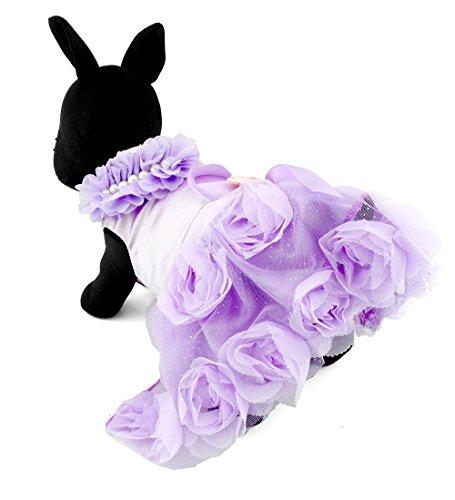 ZUNEA Vestido de novia para perro, de satén con rosa de princesa, para cachorros, chihuahua, falda de tutú para perro, ropa de perrito morado, talla M