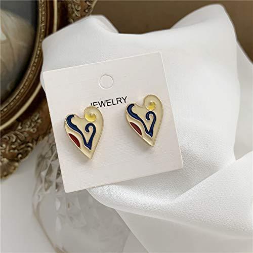 FGFDHJ Pendientes de corazón de Aceite goteando Pendientes Colgantes Femeninos Diseño de nicho Pendientes Simples Regalo de Fiesta de Boda