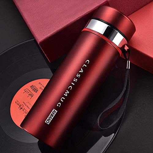 WENSISTAR Senator Isolierflasche,Stainless Steel Vacuum Flask, Portable Hand Cup, Business Straight Cup@red_500ml,12 Stunden heiß Isolierbecher