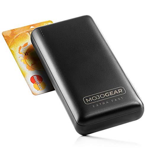 MOJOGEAR Mini XL 20 000 mAh extra snabb powerbank – med snabbladdning och USB-strömförsörjning – kompakt extern batteri-powerbank pack – 3 USB-utgångar – för iPhone, iPad, Samsung – 20 000 mAh – svart