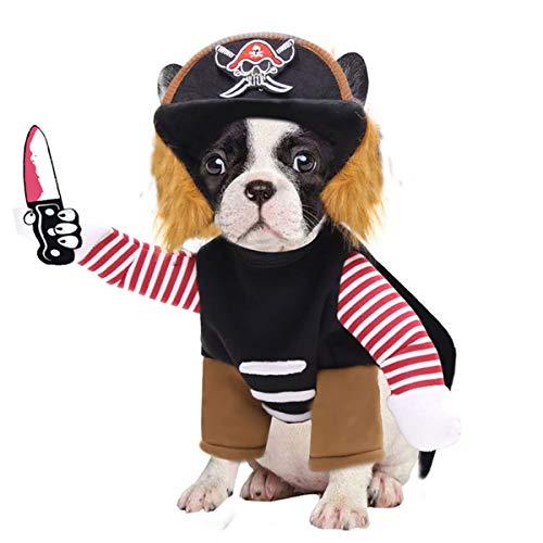 CHICTRY Halloween Hundekostüme Haustierkostüm Hundekleidung lustige für Kleine Hunde Piraten kostüm, Weihnachten Outfit mit Hut S-XL Pirate S