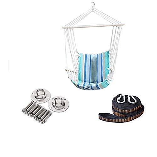 SHARESUN Hangstoel, houten frame canvas gevoerde katoen sling touw leuning opknoping hangmat computer stoel, schommel, dragende 120kg, voor indoor outdoor veranda tuin terras strand