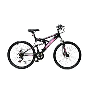 Mountain Bikes Basis 1 Full Suspension Mountain Bike 26″ Wheel Disc Brakes 21 Speed Black Pink