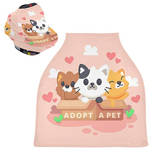 Sinestour Adoppt - Fundas de asiento de coche para mascotas, diseño de perro y bebé, funda para carrito de la compra, toldo multiusos para asiento de coche, regalo para niños y niñas