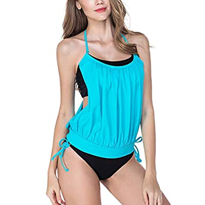 Women Tankini Swimsuits Two Piece Double Up Summer Swimwear Halter Bathing Suits Set Blue