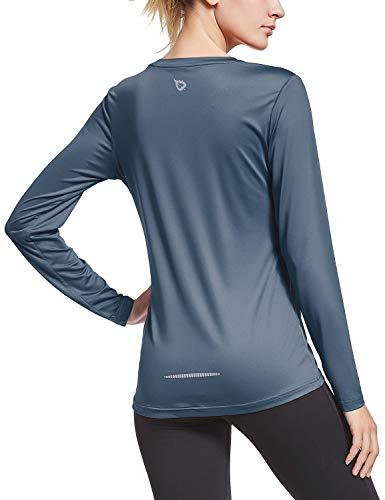 BALEAF Women's Long Sleeve T-Shirt Quick Dry Running Workout Shirts Grey Size XL