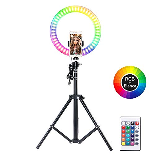 Vingtank LED Luce ad Anello per selfie da 10,2', Flash Ring Light con treppiede e supporto per telefono cellulare, LED Dimmerabile Desktop Beauty Selfie Light per video di YouTube, streaming live