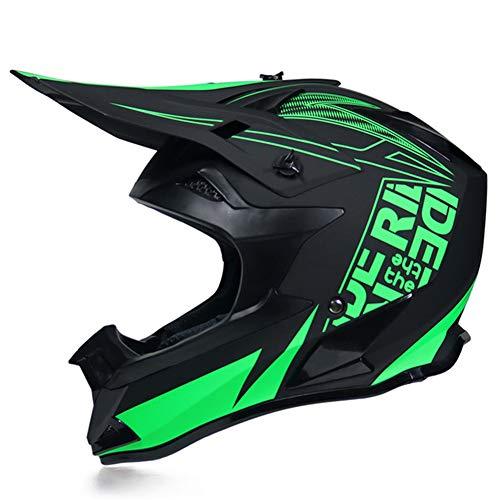 MRDEAR Motorrad Crosshelm Matt Schwarz, Motocross Helm Fullface MTB Helm Enduro Helm Fahrrad Cross Helm Motorradhelm für Downhill Bike BMX Off Road ATV mit Großer Visieröffnung,Grün,M