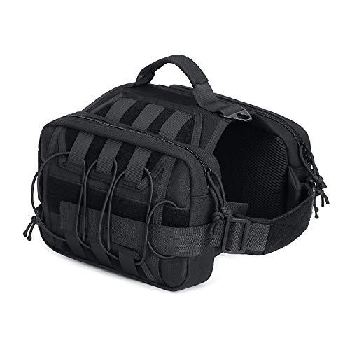 MOSISO Dog Hound Saddle Bag Backpack, Travel Hiking Camping Dogs Backpack Rucksack Breathable Durable Dogs Harness Back Pack for Medium/Large Dog with 2 Zipper Side Pockets & Adjustable Strap, Black