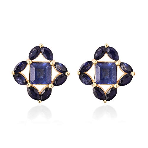 Isabella Liu Floral Masoala Sapphire Stud Earrings with Push Back in Yellow Gold Plated 925 Sterling Silver