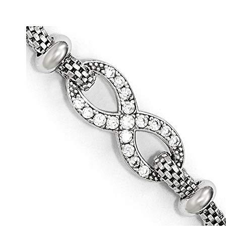 Plata de ley 925 con textura pulida y cierre de langosta con circonita cúbica de imitación de diamante infinito con pulsera externa de 1.5 pulgadas, regalo de joyería para mujer – 18 centímetros