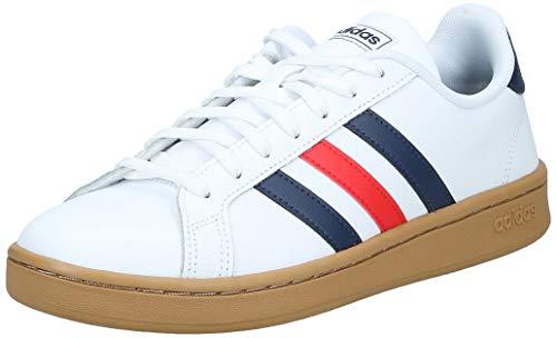 adidas Herren Grand Court Sneaker, Cloud White/Trace Blue/Active Red, 41 1/3 EU