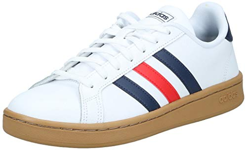 adidas Mens Grand Court Sneaker, Cloud White/Trace Blue/Active Red, 44 2/3 EU