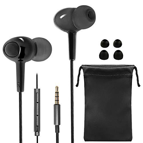 SourceTon In-Ear-Kopfhörer mit Mikrofon und Lautstärkeregler, kraftvoller Bass-Sound, inkl. 2 verschieden große Paar ergonomische Ohrhörer und Tragetasche, Schwarz