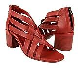 Zerimar Sandalias Mujer | Zapato de Mujer Tacon | Sandalias Mujer Piel | Sandalias Mujer Tacon | Zapato Mujer Elegante Tacón | Sandalias de Cuero Mujer Tacón | Color: Rojo Talla 40