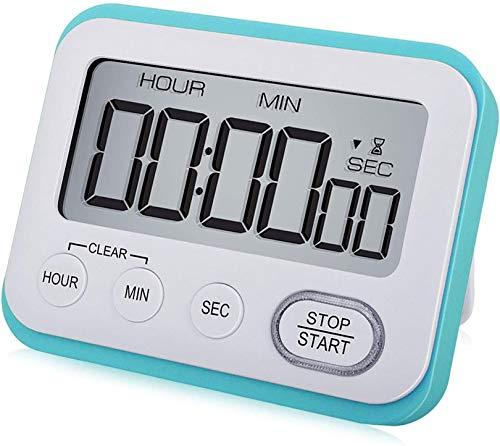 WUTL Digital Kitchen Timer Magnetic Loud Alarm Clock, Large LCD Screen Silent/Beeping Multi-Function for Teachers Kids, Sky Blue