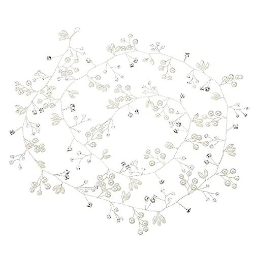 Haardraht Hochzeit Haarschmuck Kopfschmuck mit Kristallen Strassbesatz Haarband Stirnbänder mit Kristall und Perlen Brautschmuck für Braut,Brautjungfer,Accessorries Haare,Haarreife,50 cm (Silber)