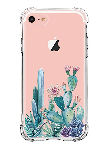 LUOLNH Slim Shockproof Clear Floral Pattern Soft Flexible TPU Back Cover Case Compatible with iPhone 5 5s SE-Cactus Blossom