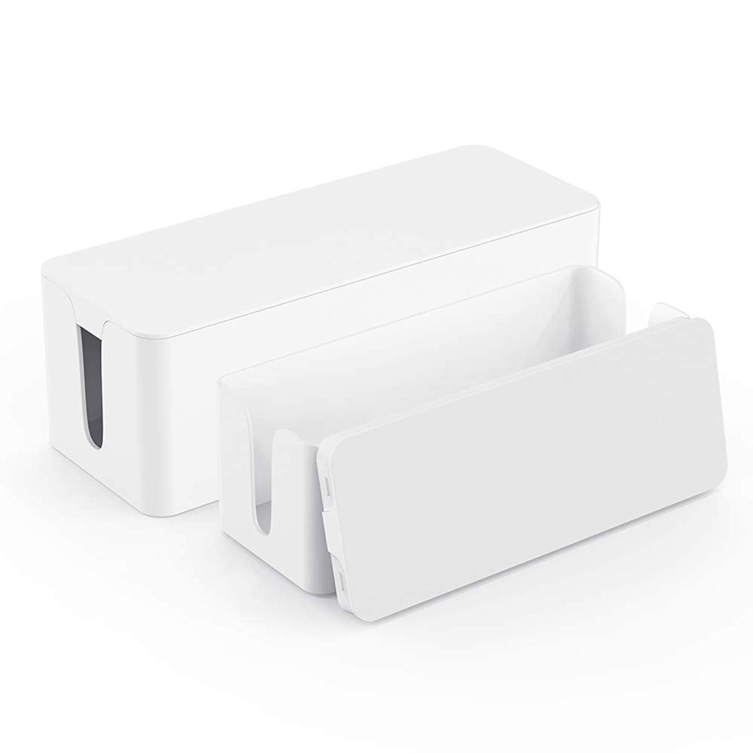 Cable Box Organizer - Power Strip Cable Management Box - Cord Hider Box for Hiding Surge Protector Cover - Set of 2, White