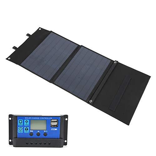 Panel solar de 120 W, panel solar, 12 V / 24 V, controlador PWM de alta eficiencia para computadoras portátiles, cámaras, teléfonos inteligentes, cargador de bolsa plegable para el hogar, camping(10A)