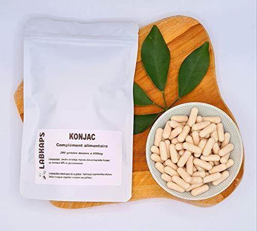 KONJAC GLUCOMANNANE 200 gélules dosées a 650 mg enveloppe de la gélule 100% végétale