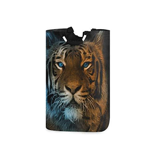 KJKT Cesto de la ropa Animal Tiger 's Gaze Bolsa plegable grande para ropa sucia Cesto alto Cestas de almacenamiento de tela Rectángulo plegable Papelera de lavado Organizador de ropa de mano