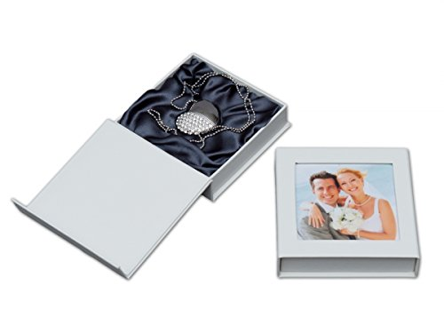 16 GB USB Chiavetta, Flash Drive 'Cuore' con USB-Box. Matrimonio Design.
