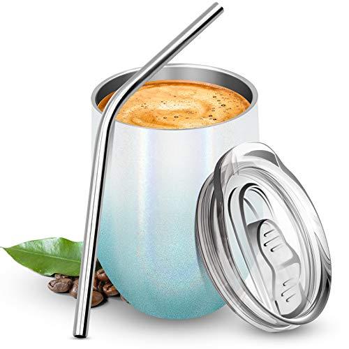 BICASLOVE Termo Taza Cafe 12oz/354ml,Botella de Agua Acero Inoxidable,Reutilizable,Botella Térmica sin BPA,con Paja y Cepillo,para Hogar,Vino,Café